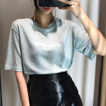 2017 spring and summer o-neck loose short-sleeve t-shirt female flash light t shirt female brief top