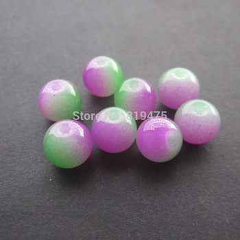 (30pieces /lot) 8mm Glass beads Double colored Hot pink and Green for jewelry making