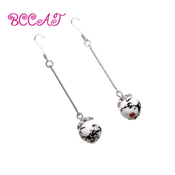BCCAT women ethnic ceramic earrings fashion handmade tibetan silver earrings new vintage dangle earrings