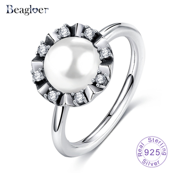 Beagloer 925 Sterling Silver Everlasting Grace Stackable Wedding Rings With Clear CZ Pearl For Women Party Jewelry PSRI0019-B