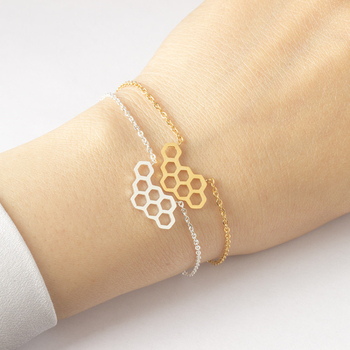 Dainty Gold Color Honeycomb Hexagon Bracelet For Women Link Chain Stainless Steel Bracelet Bridesmaid Jewelry Bracciali Donna