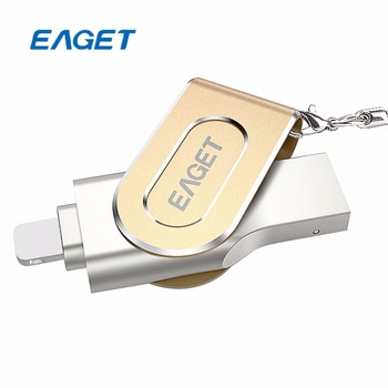 EAGET USB OTA Flash Sürücü 128 GB USB3.0 MFi Yetki OTG PenDrive şık Rotasyon Metal iPhone PC için 8 Pin U Disk