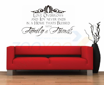 Family & friends home decor creative quote wall decal zooyoo8042 decorative adesivo de parede removable vinyl wall sticke