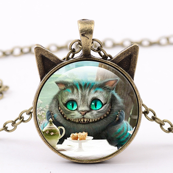 Fashion Ladies Preferred The Most Lovely Classic Kittens Pendant Necklace Glass Cabochon Fine Jewelry