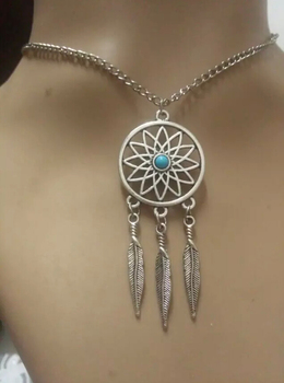 Fashion Tibetan Silver Dream catcher and feathers needle tip Charms Statement Necklace&Pendants DIY Jewelry For Woman 10pcs B384