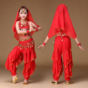 KIDs Girls Oriental Belly Dance Costumes Set 6 PCS Child Bollywood Indian Skirts Children Gift Red Rose Yellow S/M/L/XL