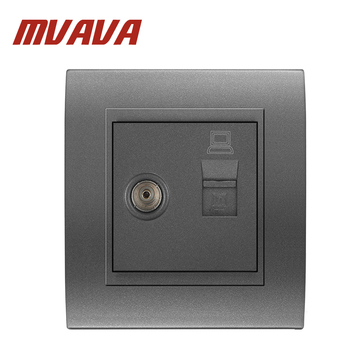 MVAVA Computer And Television Wall Socket Electric RJ45 Network+ TV Aerial Socket Wall Mount Coaxial Outlet Plug
