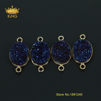 New Style 5pcs/lot Plated Gold Double Bails Dark Blue Natural Ag ate Druzy Connector Pendant of Jewelry XFX069