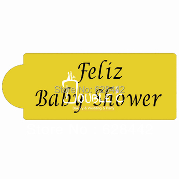 PET Esnek Feliz Baby Shower Parti Kek/Çerez/Cupcake Şablonlar; Baby Shower Bloom Parti Stencil