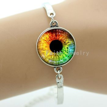 Rainbow eyes bracelet charming bright colorful dragon eyes personalized resin glass eye ball art metal women jewelry -1303-1304