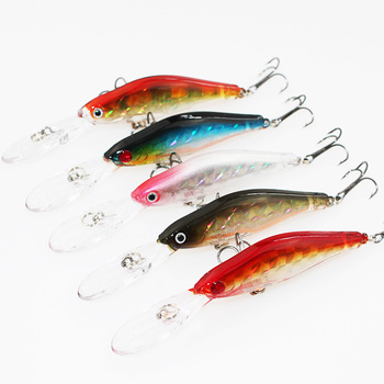 Soloplay 1PCS 5 Colors 9.5cm 7g Hard Bait Minnow Fishing lures Bass Fresh Salt water 6#High Black Hook