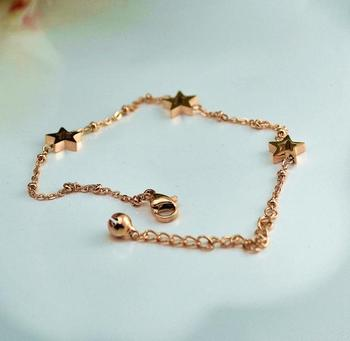 YUN RUO Rose Gold Color Piercing Star Predant Bracelet Titanium Steel Woman Jewelry Birthday Gift