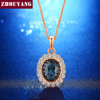 ZHOUYANG Elegant Rose Gold Color Blue Crystal Pendant Necklace CZ For Women Wedding Party Top Quality ZYN288
