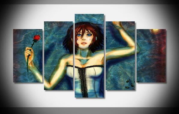 2017 Unframed Wall Art Canvas Modern Painting Cartoon Girl Printed Pictures Home Decoration