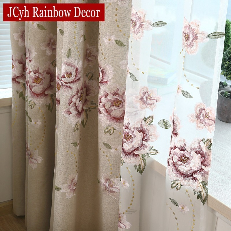 European Style Luxury Flower Embroidered Blackout Curtains For Living Room Bedroom Cortina Tulle Sheer Yarn Fabric For Curtains