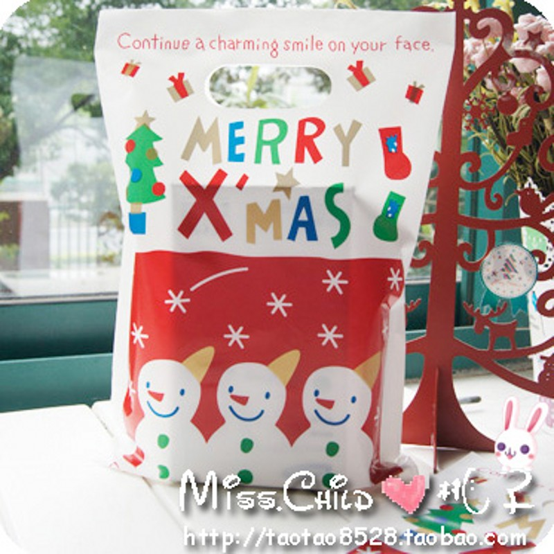 20PCS 20*29.5cm Christmas Snowman Print Multicolour X'mas Gift Packaging Bag Hand Length Handle Candy and Cookie Plastic bags