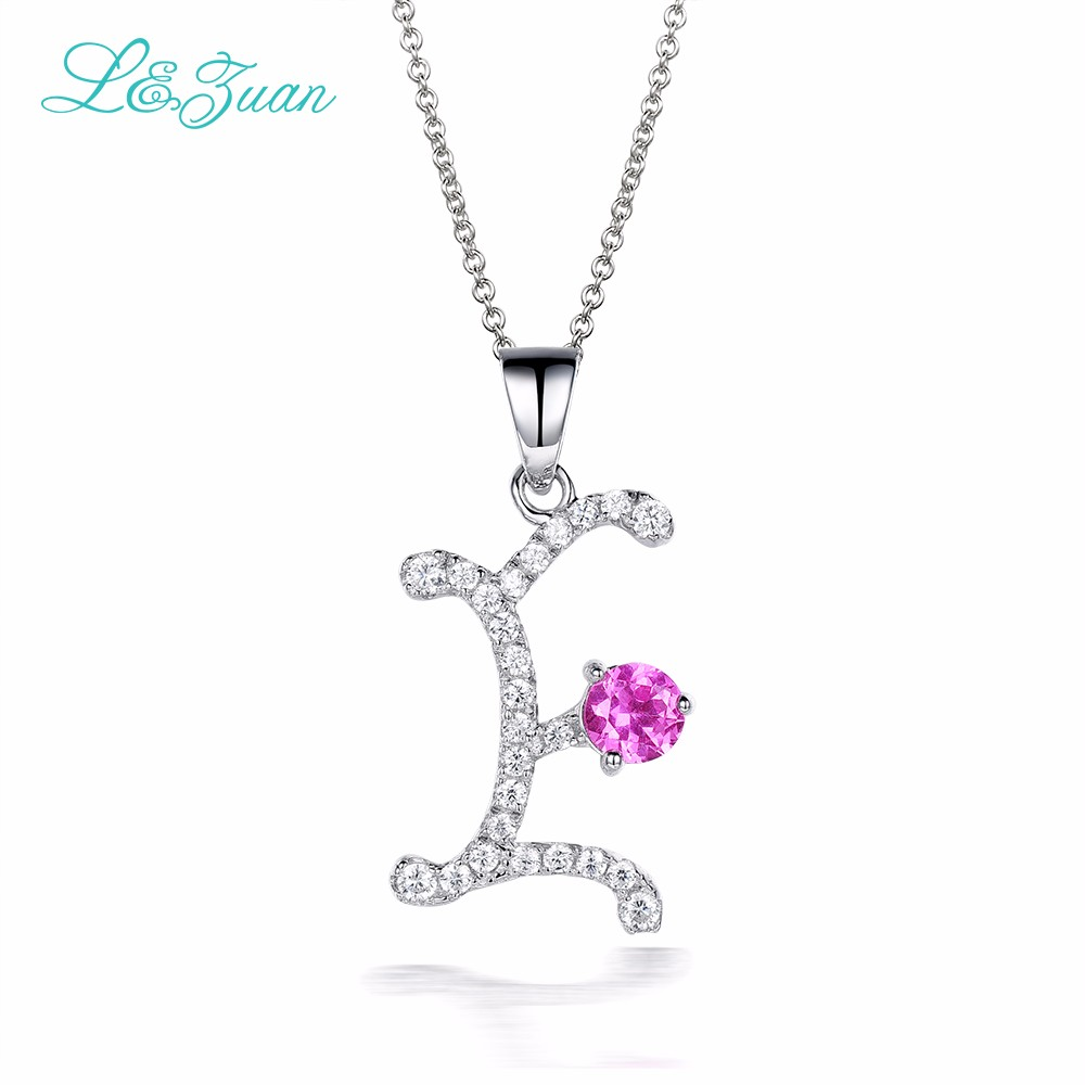 L&zuan 925 Silver Zircon Woman Pendants Necklaces Trendy Charm Letter E 0.87ct natural Gemstones Fine Jewelry Chain Party Gift
